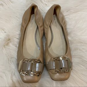 Via Spiga Ballet Flats Tan Gold Buckle Leather 7